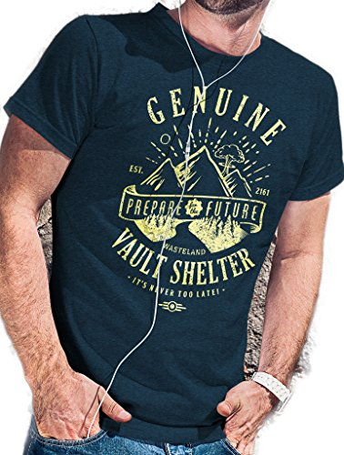 LeRage Shirts Fallout T-Shirt | Original Vault Shelter - Wasteland 216est - Prepare for the Future Herren Gr. S, blau