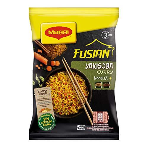 Maggi Fusian Yakisoba Curry Noodles Istantanei con Verdure e Salsa con Soia, 8 Confezioni da 2 Porzioni