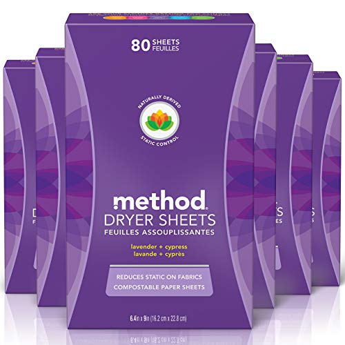 Method Dryer Sheets, Lavender Plus Cypress, 80 Sheets (Pack of 6)