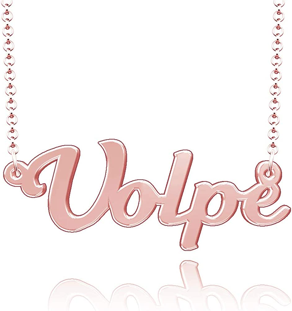 LoEnMe Jewelry Customized Volpe Name Necklace Stainless Steel Plated Custom Made of Last Name Gift for Family