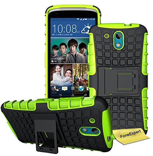 HTC Desire 526G Handy Tasche, FoneExpert® Hülle Abdeckung Cover schutzhülle Tough Strong Rugged Shock Proof Heavy Duty Case für HTC Desire 526G + Bildschirmschutzfolie (Grün)