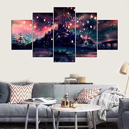 Foto's op canvas Poster Modulaire Kunstdruk 5 stuks gebouw Schip brug hemel lantaarns nachtzicht schilderijlijst slot muur decoratie 30x40cmx2,30x60cmx2,30x80cmx1 Geen frame.