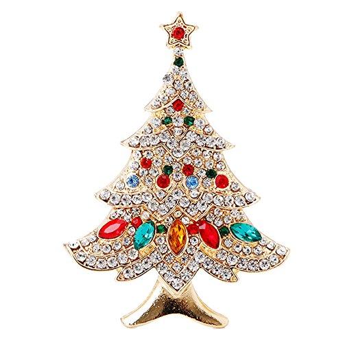 SCASTOE Vintage Colored Christmas Tree Rhinestone Brooch Pin Wedding Party Jewelry
