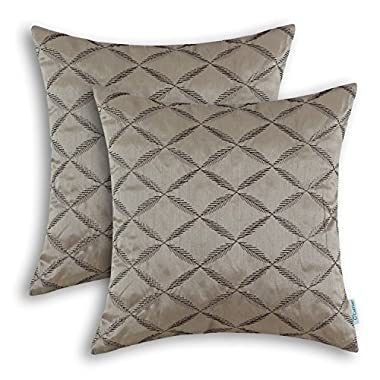 CaliTime Pack of 2 Cushion Covers Throw Pillow Cases Shells for Home Sofa Couch Diamonds Chain Geometric Embroidered 18 X 18 Inches Taupe