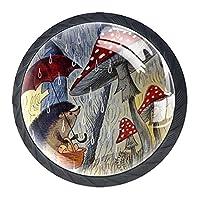 キッチンキャビネットノブ4個セット-プルノブ引き出しとドレッサーハンドル- 動物の雨の日