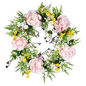 LSKYTOP 14 Inch Artificial Rose Flower Wreath Spring Floral Wreath Silk Flower Wreath for Front Door Wall Window Decoration