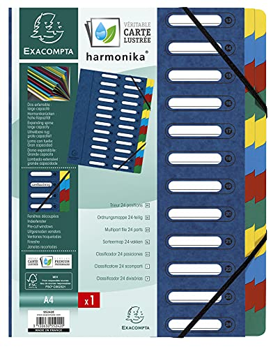 Exacompta 55242E Premium Ordnungsmappe Harmonika. Aus extra starkem Colorspan-Karton DIN A4 24 Fächer und 2 Gummizüge mit Indexfenster und dehnbarem Rücken Register-Mappe blau