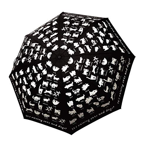 FLAT CATS & FLAT DOGS Printed Compact Folding Automatic Heavy Duty Umbrella for Men, Women and Kids Portable Waterproof Teflon Coated Pongee Canopy for Sun Shade and Rain - Black