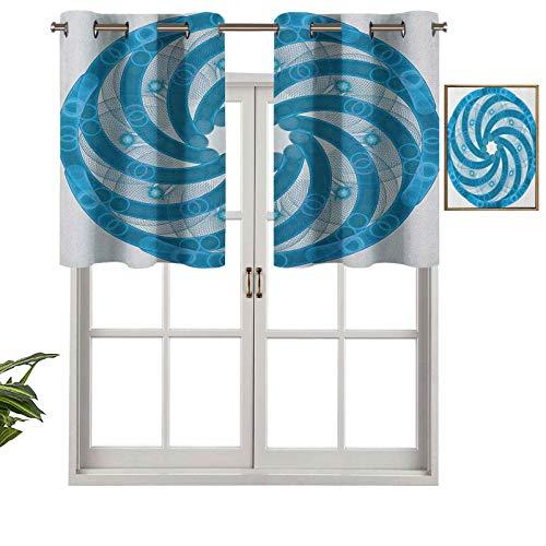 Hiiiman Cenefas opacas para cortinas antirayos UV, diseño abstracto fractal rotatorio de giro, diseño de tubo de espiral, juego de 2, 42 x 24 pulgadas para interior, comedor o dormitorio