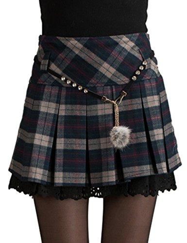 HAHAEMMA Mini Falda Mujer Plisada Escocesa Elegante Invierno Alta Cinturilla Elástica de Encaje Doble de la Colegiala (con Hermosa Cadena en la Cintura)