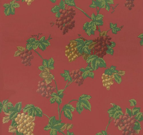Wallpaper Waverly Traditional Tuscan Grapevine on Red Background