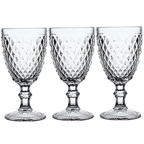 GLADMIN Gafas Gafas de Bebidas de Vidrio de Vino de Portsble 3pcs / Lot Bandeja de Boda Vino Taza de Vidrio vidrios de Agua para Beber 300ml 10oz Copas de Vino (Color : 3 pcs Set Style 6)