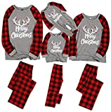 Family Pajamas Sets Deer Letter Printed Long Sleeve Tee Red Plaid Pants Loungewear Christmas PJ's (Red-2, Kids;4-5Y)