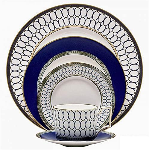 Juego de Platos, Conjunto de vajillas de 5 piezas del hueso China Servicio, tazas y platillos Club Setware Set, incluyendo placas de carne / tazas de café y platillos- Cocina...