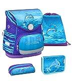 Belmil ergonomischer Schulranzen Set 4 -teilig für Mädchen 1-4 Klasse Grundschule//Brustgurt/Magnetverschluss/Delfin, Dolphin/Blau, Lila, Blue (405-41 Dolphin)