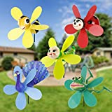 VASTOM Pinwheels for Yard and Garden, 5pcs Animal and Nature Yard Pinwheels, Outdoor Whirlygig Windmills for The Garden, Lawn Decor, Yard Wind Spinners Decorations, Garden Art (Pack of 5)