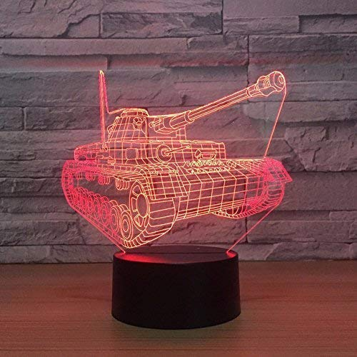 Optische Täuschung 3D Panzer Nacht Licht 7 Farben Andern Sich USB Adapter Touch Schalter Dekor Lampe LED Lampe Tisch Kinder Brithday weihnachten Geschenk