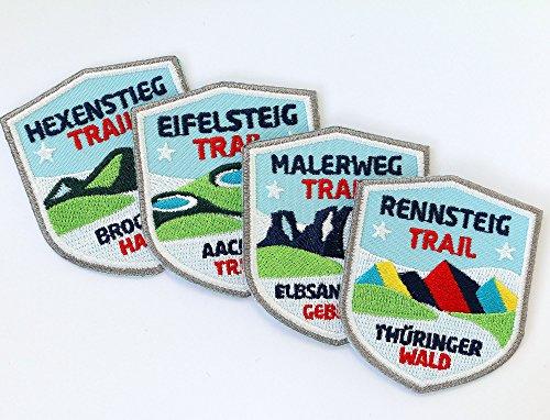 4er-Set Wander-Abzeichen 51 x 60 mm gestickt / Rennsteig Hexenstieg Eifelsteig Malerweg Weit-Wanderweg / Aufnäher Aufbügler Sticker Patches / Wandern Wanderkarte Tourenkarte Wanderführer Reiseführer