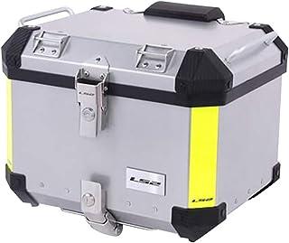 LS2 モノキーケース バイクモノキートップケース リアボックス 高性能&スタイリッシュデザイン 40L 60L リアボックス用バックレスト付き (シルバー&バックレスト付き, 60L)