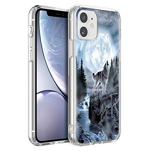 Eouine for Apple iPhone 11 Case, Phone Case Transparent Clear with Pattern Ultra Slim Shockproof Soft Gel TPU Silicone Back Cover Bumper Skin for Apple iPhone11 Smartphone (Wolf)
