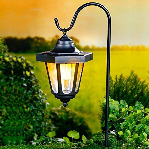 Unbekannt TRI Solar-Leuchte, Solarlaterne Solarlicht Solar-Hängeleuchte Gartenleuchtemit Erdspieß, inkl. Akku, Kunststoff, 24 x 17 x 78 cm