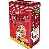 Nostalgic-Art Retro Kaffeedose Hot Coffee Now – nostálgico Idea de Regalo, Lata Grande para café con Tapa de Aroma, Diseño Vintage, 1,3 L