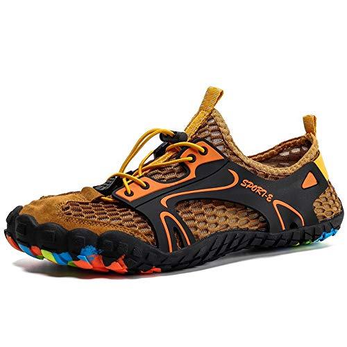 Faus Koco Zapatos Malla Exterior De Cinco Dedos, Material De Goma, Zapatos De Vadeo for Los Amantes De La Playa, Zapatos De Buceo Antideslizantes Transpirables De Secado Rápido (marrón)