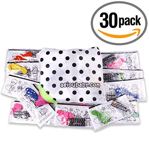 30 Estuches para Colorear + 1 Bolsa Reutizable | 30 Bolsas Individuales con 5 Ceras de Colores y Globo | Regalo niños Fiestas y cumpleaños