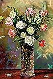 PROW Tiempo de Silencio 1000 Piezas Flores Pinturas al óleo en florero Rompecabezas para Adultos Decoración del hogar Marco de Arte Rompecabezas Cumpleaños Navidad Caja de Regalo