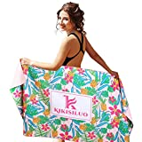 Microfiber Beach Towel Quick Dry Swim Towel for Travel Pool Beach Bath Yoga 64'X 32' Oversized Sand Free Lightweight Beach Towel (Pink)