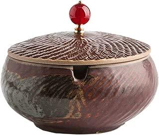 Retro Ceramic with Lid Ashtray, Living Room Creative Antique Smoke Trough (Color : A)