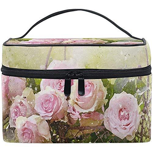 Rose Roses Femmes Voyage Maquillage Sac Portable Cosmétique Train Case Trousse De Toilette Beauté Organisateur (19 Conception)