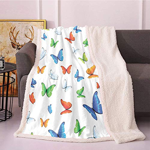 SeptSonne Butterflies Fleece Blanket,Butterflies Animal Clipart Ecology Environment Joyful Design Cartoon Tropics Flannel Bed Blankets,for Bed, Couch, Sofa, Chair Fur Blanket(50x60 Inches,Multicolor)