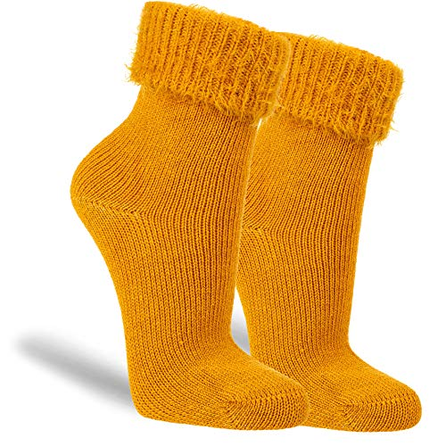 NewwerX 3 Paar Kuschelsocken, Baumwollsocken für Damen, Flauschig Warme Wollsocken (Senf, 35-38)