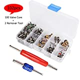 Car Air Conditioning Valve Core Kit, Auto AC Repair Tool Box Set A/C R12 R134A Refrigeration Tire Valve Stem Cores Remover Installation Tool Assortment Set - 102PCS