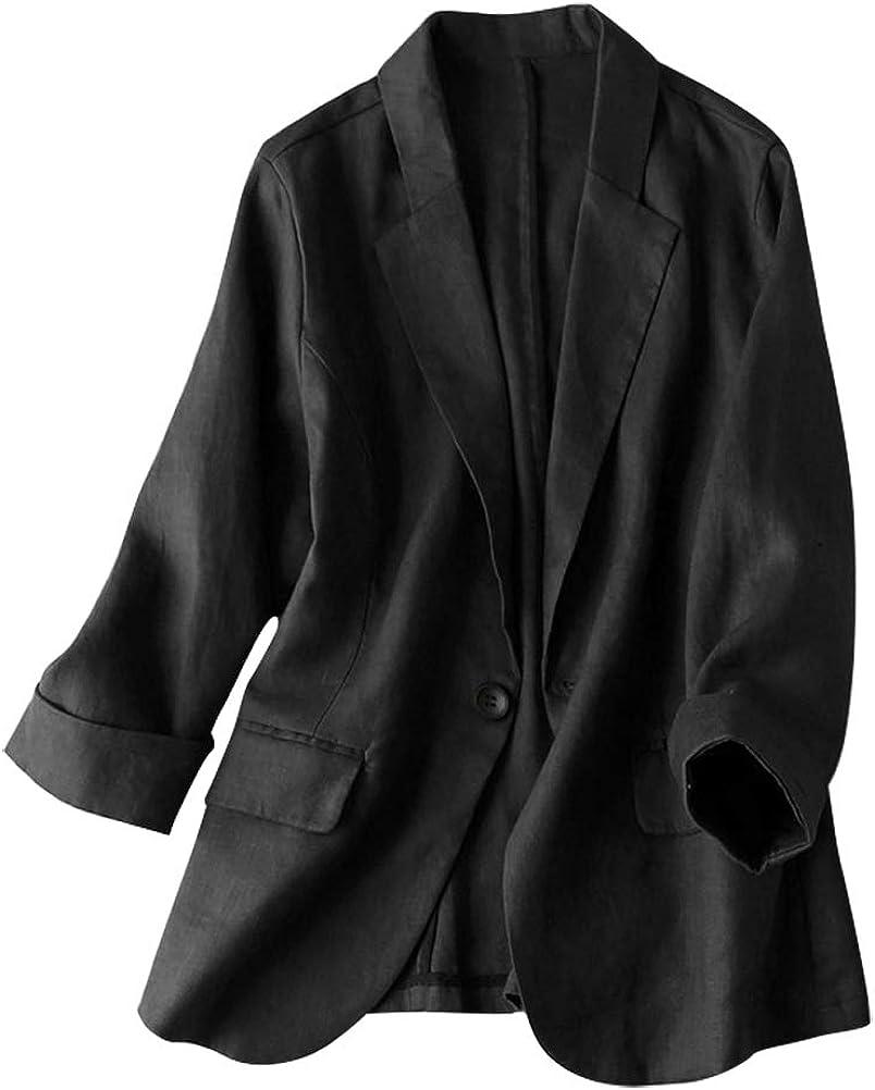 IDEALSANXUN Womens 100% Linen Blazer Suit Don't miss the campaign Max 79% OFF One Notch Button Lapel