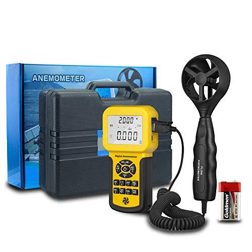 ZHLZH Anemómetro/Medidor de Velocidad Viento Aire/Aire Medidor, Anemómetro Digital de Mano Profesional Velocidad del Viento Temperatura del Viento 0.3~45m / s Anemómetro