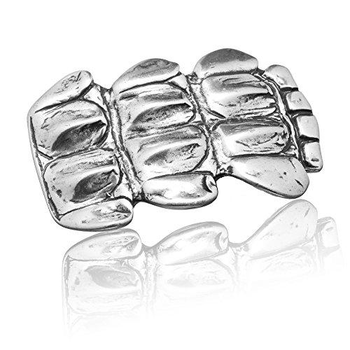 Gürtelschnalle Buckle 40mm Metall Silber Geschwärzt - Buckle Shield - Dornschliesse Für Gürtel Mit 4cm Breite - Silberfarben Geschwärzt