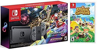 Nintendo Switch HAC 001 with Gray Joy-Con + Mario Kart 8 Deluxe (Full Game Download) & Animal Crossing: New Horizons (Disc) Game Bundle by Nintendo