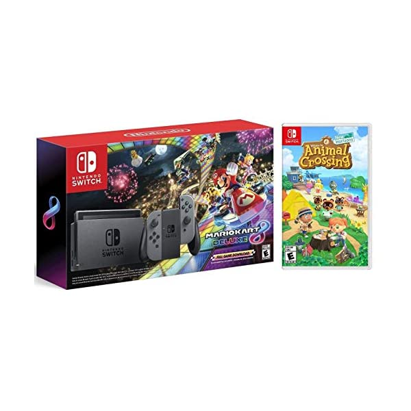 Nintendo Switch HAC 001 with Gray Joy-Con + Mario Kart 8 Deluxe (Full Game Download)...