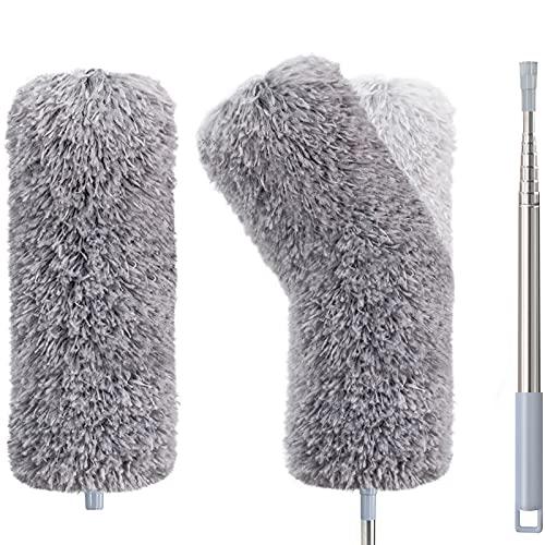 Plumero telescópico de microfibra, juego de 2 unidades, con accesorios de microfibra, lavable con varilla telescópica de 1.4 m, elimina el polvo sin esfuerzo, color gris