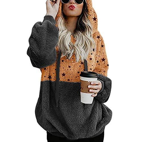 Auifor Damen Plus Größe Kapuzen Sweatshirt Mantel, Colorblock Winter Warm 1/4 Reißverschluss Taschen Mantel Outwear(Dunkelgrau,XXX-Large)