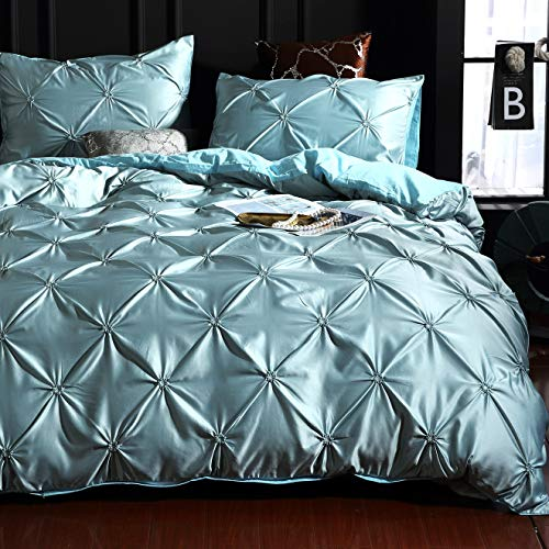 Satin Pintuck Duvet Cover Set Microfibre with Corner Ties Soft Silky Quilt Covers, King Size, Hotel Quality Zipper Closure Bedding Sets with Pinch Pleat and Easy Care, Duck Egg Blue