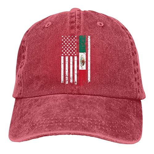 Hoswee Baseballmütze Hüte Kappe Herren Damen Baseball Cap Mexiko American Thin Line Flag Verstellbarer Denim Dad Hut für Damen