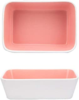 Temptations Bakeware Household Rectangular Baking Pan Ceramic Lasagna Baking Rice Pan Oven Microwave (Color : Pink, Size :...
