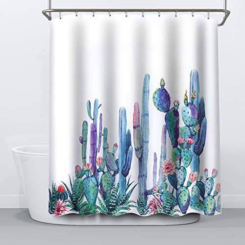 NIBESSER Cortina de Baño, Cortinas de Ducha Impermeable Resistente al Moho de Tela de Poliéster con Diseño Plantas Flores Cactus Cortina Accesorios de Ducha con 12 Ganchos, 180cmx180cm (Cactus