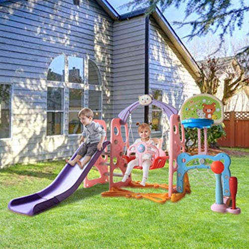 US Fast Shipment 6 in 1 Kids Slide Swing Set,Family Playgound Entertainment Set with Slide/Swing/Basketball Hoop/Football Goal/Baseball Combo,Indoor Outdoor Kids Playground