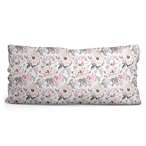 Seitenschläferkissen Bezug 40 x 145 cm - Kissenbezug für längliches Kissen aus Baumwolle mit Oeko-Tex Zertifikat (Rosen-Motiv, 40 x 145 cm)