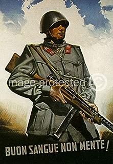 AGS - BUON Sangue Non Mente! Vintage Italian World War Two WW2 WWII Military Propaganda Poster - 24x36