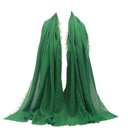 KPILP Premium Viskose Maxi Crinkle Cloud Hijab Schal Pashminas Soft Islam Muslim Kopftücher Umhang,Green 11#